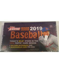 2019 Heritage Minor league Baseball box 18 pk 1 auto 1 mem per box on average