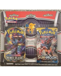 Pokemon Charzard Pin + 2 Booster/pack (rebel clash @ Sun & Moon)