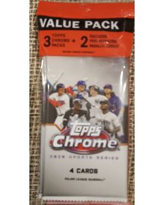 2020 Topps Chrome Update Cello pack 3 packs + 2 Pink Refractors