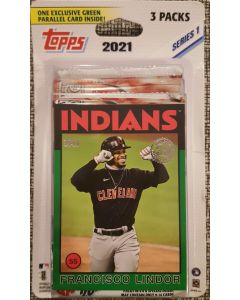 2021 Topps Series 1 3 pack (16 cards/pk) + Green Card parallel 1986 (assorted players)