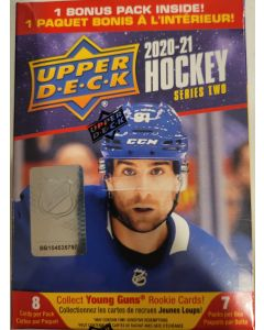 2020/21 Upper Deck Series 2 Hockey Blaster box (7 packs, 8 cards a pack) 1 to 2 rc's box