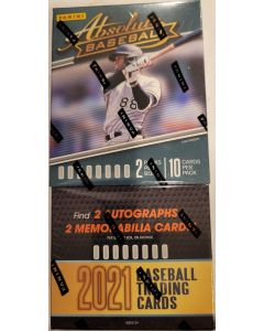 2021 Absolute Baseball Hobby box 2 packs 10 cards a pack 2 auto's and 2 relics per box on average