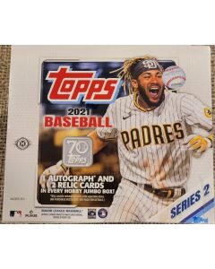 2021 Topps Series 2 Jumbo 10 packs 46 cards pk 1 auto and 2 relics box on average