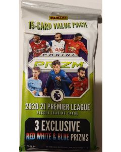 2020-21 Panini Premier League Soccer 15 card w/3 red, white, blue Prizm cards