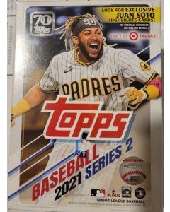 2021 Topps Series 2 Blaster box 7 packs  14 cards + 1 70th anniv card +  Juan soto exclusive card set.