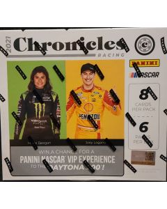 2021 Chronicles Racing Hobby 6 packs 8 cards a pack 4 autos or relics per box on average.