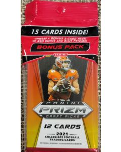2021 Prizm Draft Collegiate football cello pack 1 pk + 3 card red,white,&blue pack 15 total cards