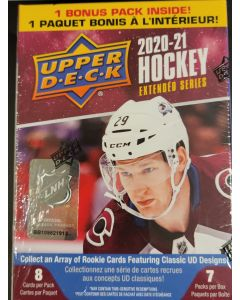 2020-21 UD  Extended Hockey Blaster box 7 pks/ 8 cards per pack  Young Guns.