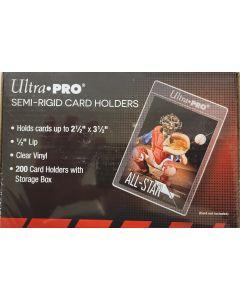 "ultra pro #81150 semi-rigid card Holders  200 count box clear vinyl 1/2"" LIP"