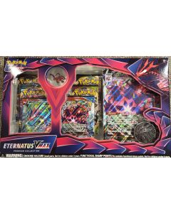 Pokemon Eternatus VMax Prem. Coll w/pin and 6 packs